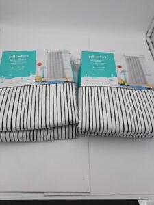"""2 Panels Pillowfort 99.9% Blackout Curtain 42""""x84"""", Ebony Mini Stripe"""