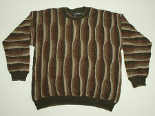 VTG TUNDRA Canada Wavy Lines 3D Sweater Large L Cosby CraZy Acrylic Beige Men's