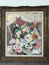 "Charles Cobelle Original Medium 25"" X 29"" Oil on Canvas Painting - two ladies"
