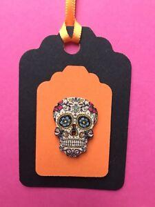 Halloween Scary Sugar Skull 3D Raised Effect Gift Tags X 5 Handmade