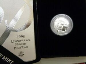 1998 W $25 1/4 Oz 9995 PLATINUM American EAGLE GEM Proof Coin +BOX & COA