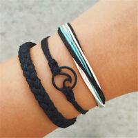 3PCS Fashion Vintage Wave Weave Bracelet Men Women Boho Bracelet Jewelry Gifts