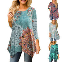 ❤️Womens Irregular Floral Tunic Tops Blouse Ladies Casual 3/4 Sleeve T Shirt 2XL