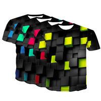 Men Round Neck T-shirt Short Sleeve 3D Print Shirt Tops Summer Gym Sport Casual