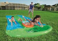 H20GO! BESTWAY SLIME BLAST TRIPLE LANE INFLATABLE SLIP AND SLIDE SPRINKLERS