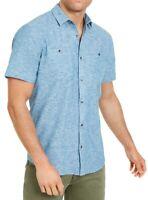 INC Mens Shirt Blue Size XL Button Down Ricky Short Sleeve Linen $49- #387