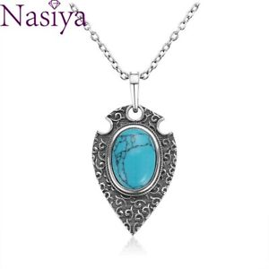 925 Silver Necklace Oval Turquoise Retro Bohemian Style Pendant Party Women Gift