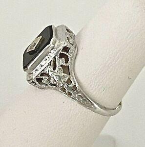 14k White Gold Onyx Ring w/ Diamond Art Deco Filigree Ornate Antique Sz 5.5 Vtg