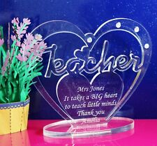 Personalised Heart for Teacher with Message - Gift/Keepsake - Freestanding