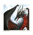DRAGON BLACK Winged FIRE HEART FAERIE WICCA WICCAN VINYL Laptop STICKER/DECAL
