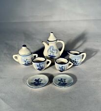 Vintage Miniature Dollhouse Tea Set-Delft Blue-Dutch Wind Mill