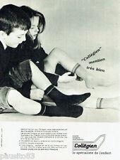 PUBLICITE ADVERTISING 115  1964  Collègien  chaussettes tricots enfants