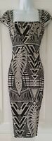 Womens Save The Queen Black White Monochrome Stretch Quirky Midi Pencil Dress S.