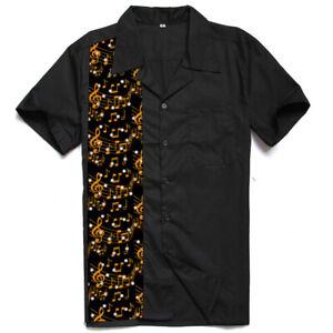 Men's Shirts Design Music Panel Rock N Roll Casual Rockabilly Summer Shirt