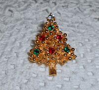 Vintage Rhinestone Christmas Tree Lapel Brooch Pin Unsigned EISENBERG Style  C17
