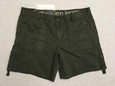 CALVIN KLEIN Womens Green Olive Night Belted 4-Pocket Button Tie Shorts, Sz 14