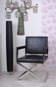 B Ware Designer Sessel Kroko Schwarz  Art Deco Regiesessel Kunst Leder