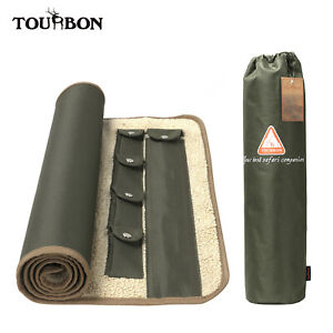 Tourbon Long Gun Rifle Cleaning Mat Fleece Padded with Cleaning Kit Pockets