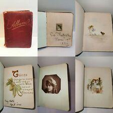 1890's Sketch Autograph Book Album Art Paintings drawings poems photographs