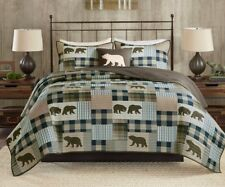 BEAR COUNTRY ** King ** QUILT SET : BROWN BLUE PLAID LODGE MOUNTAIN CABIN
