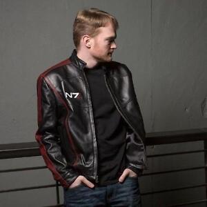 Mass Effect 3N7 Commander Shepard Men's Leather Jacket Coat Cosplay Costume