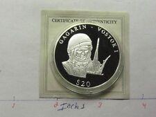 VOSTOK I GAGARIN SOVIET UNION 1ST ASTRONAUT IN SPACE LIBERIA 999 SILVER COIN P4