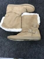 JUSTICE Girls Faux Suede Camel Brown Fur Lined Boots Size 7  G15