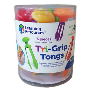 Learning Resources Tri-Grip Plastic Tongs Set of 6 Practice Fine Motor Skills