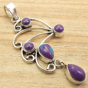 """925 Silver Plated PURPLE COPPER TURQUOISE 5 Cabochon Gemstones Pendant 2.1"""""""