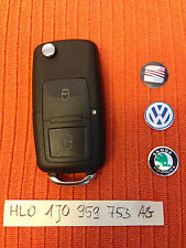 VW SEAT SKODA 2 Buttons Remote Key Fob 1J0 959 753 AG 1J0959753AG CAN CUT & CODE
