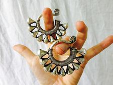 Antique Miao Silver Tribal Earrings Gauged Earrings Ear Weights