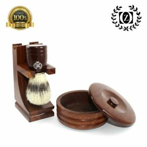 MISSION STYLE CLASSIC WOODEN SHAVING BRUSH STAND + BOWL WALNUT FINISH HAND MADE