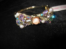 BETSEY JOHNSON SWEET SHOP BOW  MULTI COLORED BLING STONES HINGED BRACELET