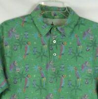 Disney Parks ENCHANTED TIKI ROOM Polo Shirt Mens MEDIUM Birds Green Purple