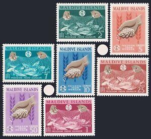 Maldives 117-123,hinged.Mi 117-123. Freedom from Hunger,FAO-1963.Fish,Wheat,Rice