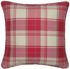 """JACQUARD TARTAN CHECK RED BEIGE 18"""" 45CM PIPED CUSHION COVER"""