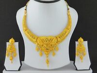 Indian Bollywood Gold Plated Jewelry Fashion Wedding Necklace Earrings Set new