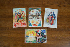 Lot of 4 Fourth 4th of July Uncle Sam Fireworks American Flag Postcards