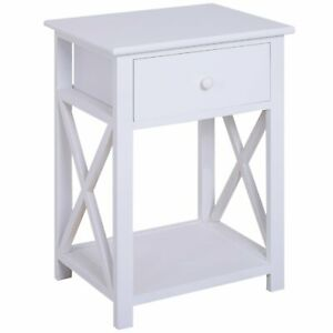 White Wooden Night Stand Bedroom Living Room Side Display Table Drawer Storage