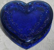 Blue Vaseline glass heart powder jewelry box dresser holder ring uranium cobalt