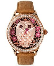 Betsey Johnson Women's Owl Dial Honey Leather Strap Watch BJ00517-05  NEW IN BOX