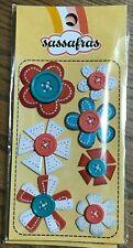 3039 Sassafras 3D Stickers - Stitched Flowers With Buttons - PkgSz 6x3