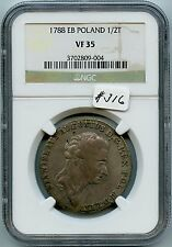 1788 EB  Poland 1/2T VF35 (#316). NGC. Scarce. Only 3 Graded in All Grades. Care