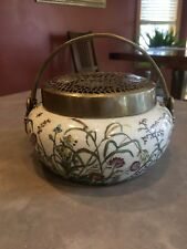 Castilian Imports Porcelain Antiqued Brass Vase Bowl Lidded Butterfly Art Nouvea