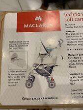 Maclaren Techno Xlr Soft Carry Cot Brand New Siver /pengiun In Colur Boxed