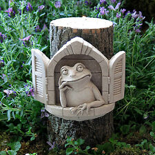 "Wall Art - ""Froggy In The Window"" Wall Sculpture - Natural Stone Finish - Garden"