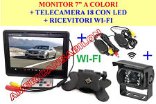 "KIT RETROMARCIA WIRELESS MONITOR 7"" POLLICI + TELECAMERA 18 LED CAMPER CAMION DS"