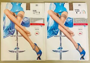 2 Pair Fiore Eluxa Toeless Hold-Ups Sheer Stockings Sz 5 XL Natural Golden Line
