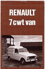 Renault 4 Van 7cwt 1976-77 UK Market Foldout Sales Brochure