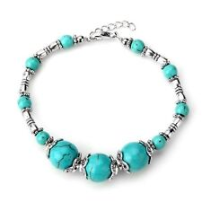 Tibet Silver Turquoise Beads Lobster Clasp Bracelet Chain New